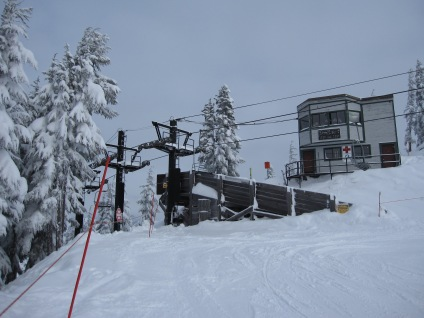 One operator oversees two unloading ramps from high above at Stevens Pass.
