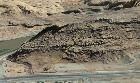 Moab Scenic Tram from Google Earth.