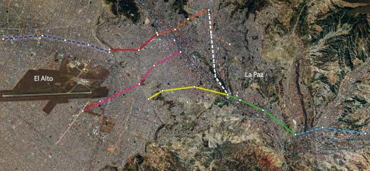 Map showing Phase I and Phase II gondola lines.