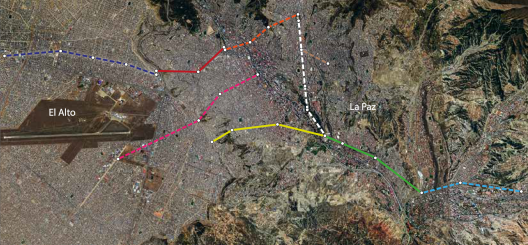 Map showing Phase I and Phase II gondola lines.