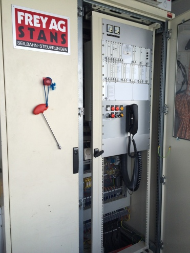 Frey control cabinet located in the top terminal.  There is a larger cabinet in tram control and more in the motor room.