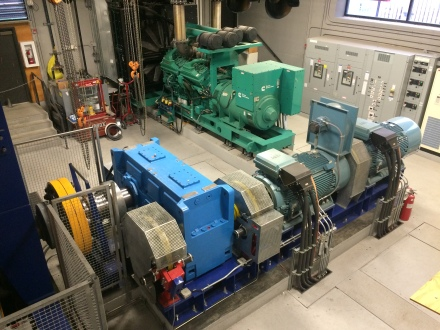 The tram's motor room under the bottom dock houses electric motors, a large generator, braking systems and evacuation drives.