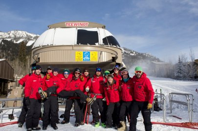 Jackson Hole lifties before getting beanies as part of their uniforms.