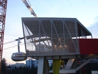 The top terminal of the Portland Aerial Tram is suspended 140 feet above the ground.