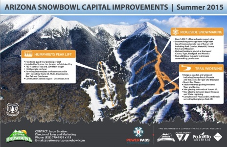 Flyer for Arizona Snowbowl's 2015 Improvements including a new quad chairlift and snowmaking upgrades.