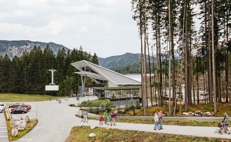 Summer rendering of the new bottom terminal building.  Photo credit: Bayerische Zugspitzbahn Bergbahn AG
