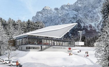 Winter view of the bottom terminal for the new Eibsee Cable Car.  Photo credit: Bayerische Zugspitzbahn Bergbahn AG