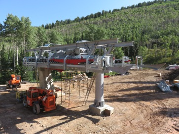 Quicksilver Gondola  under construction on the former Canyons side of Park City.
