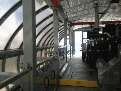 Inside the top terminal with 400 HP drive motor.