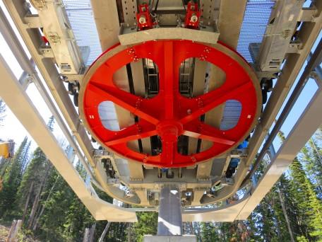 Bullwheel at the drive terminal of Jackson Hole's new Teton detachable quad.