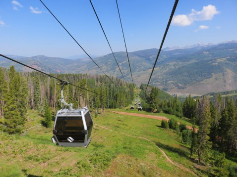 Riding Gondola One to Vail Village.