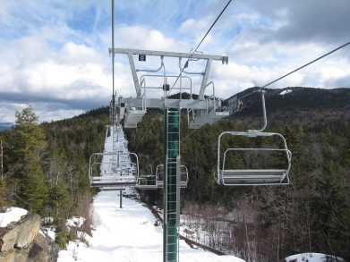 Looking back towards Loon Mountain on the Tote Road Quad that connects to South Peak.