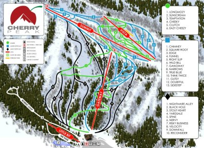 Cherry Peak's trail map.  Note the lift in the middle does not exist yet.