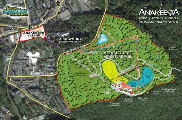 Site plan with the chondola connecting hotel to adventure park.