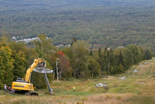 Sugarloaf's oldest lift towers come down. Photo credit: Sugarloaf Mountain Resort