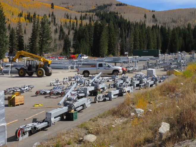 Lift towers and terminals have arrived for Solitude's Summit Express. Towers were flown up the hill last Saturday.
