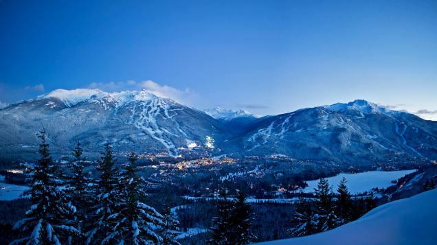 Winter-Dual-Mountain-Evening-Lights-Snowy-Trees-Village-DavidMcColm