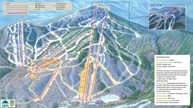The Jay Peak Tram provides the only access to the mountain's summit but most terrain can be accessed from other lifts.